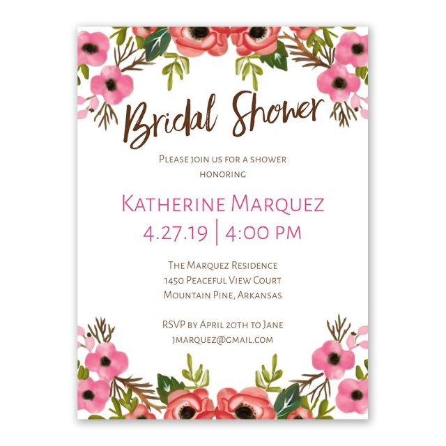 Wedding Shower Invite Blooming Beauty Bridal Shower Invitation Anns Bridal Bargains