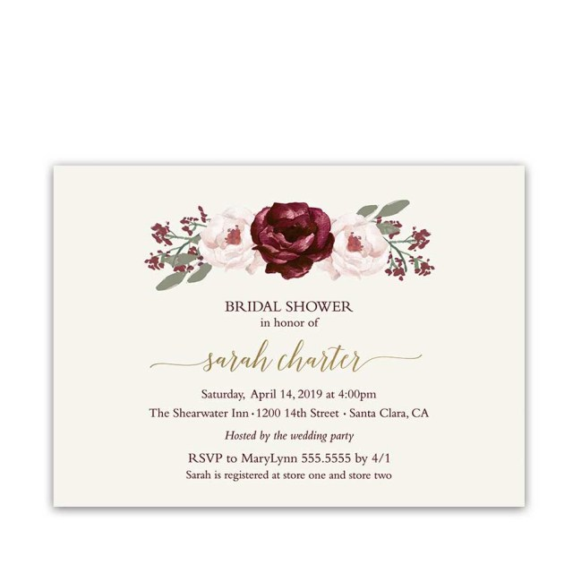 Wedding Shower Invite Bridal Shower Invitations Burgundy Wine Blush Florals Gold Accents