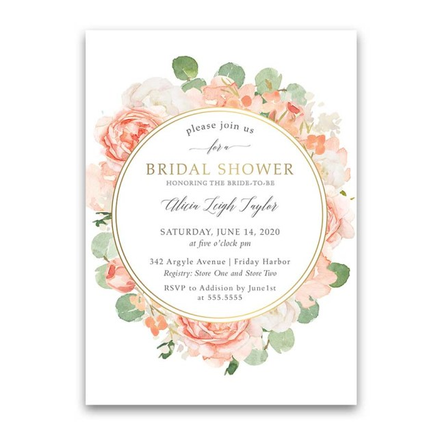Wedding Shower Invite Floral Bridal Shower Invitations Peach Gold Floral Greenery