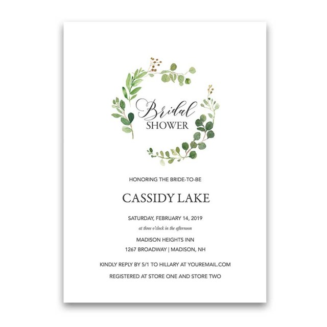 Wedding Shower Invite Greenery Bridal Shower Invitations Eucalyptus Wreath Modern