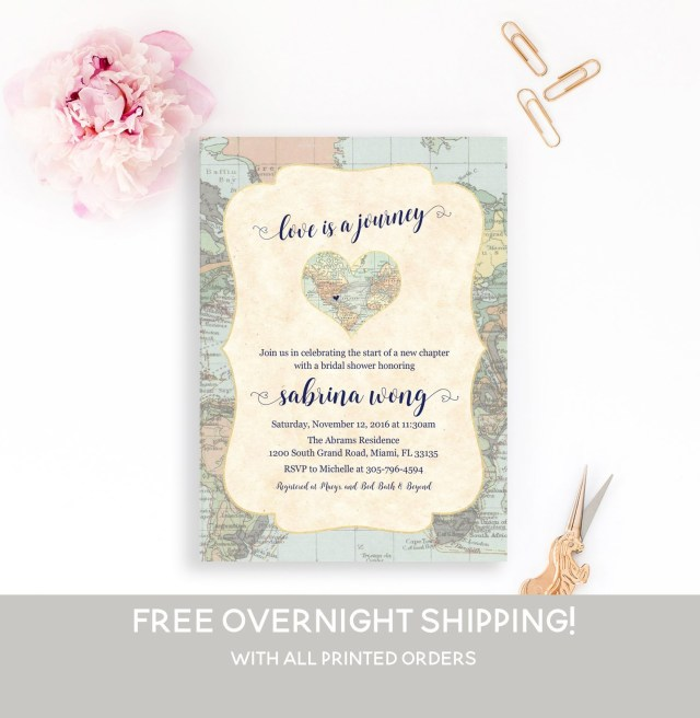 Wedding Shower Invite Map Travel Bridal Shower Invitation Love Is A Journey Adventure