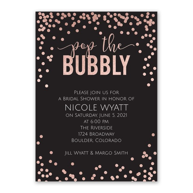 Wedding Shower Invite Pop The Bubbly Foil Bridal Shower Invitation Invitations Dawn
