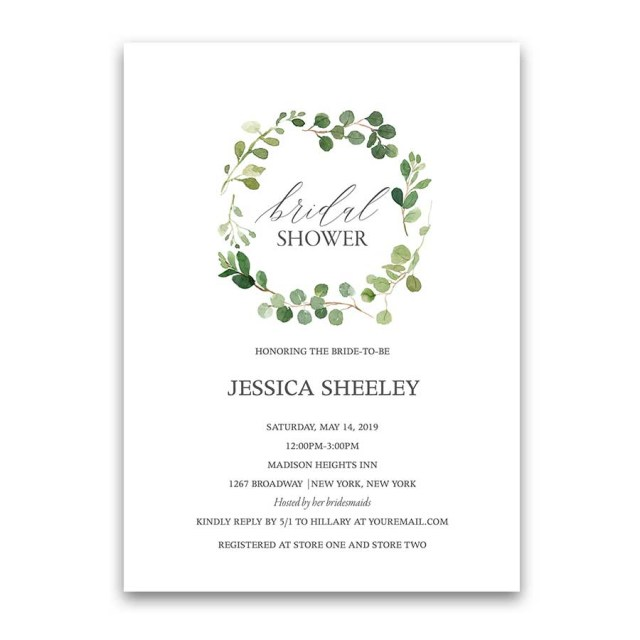 Wedding Shower Invite Wedding Shower Invitations Eucalyptus Greenery Wreath