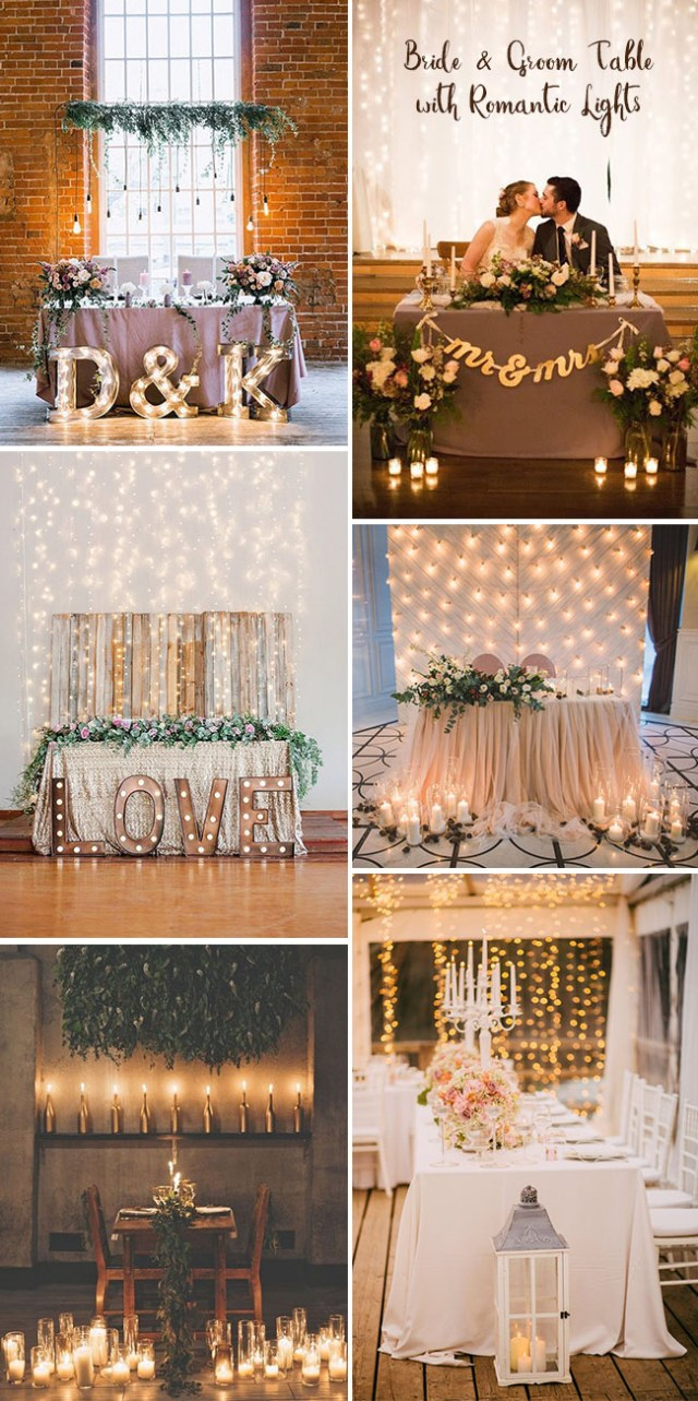 Wedding Table Ideas Sweetheart Bride And Groom Wedding Table Ideas With Romantic Lights