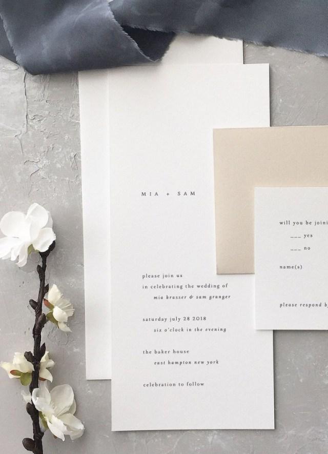 White Wedding Invitations Minimalist Wedding Invitation Mia Wedding Invitation August And