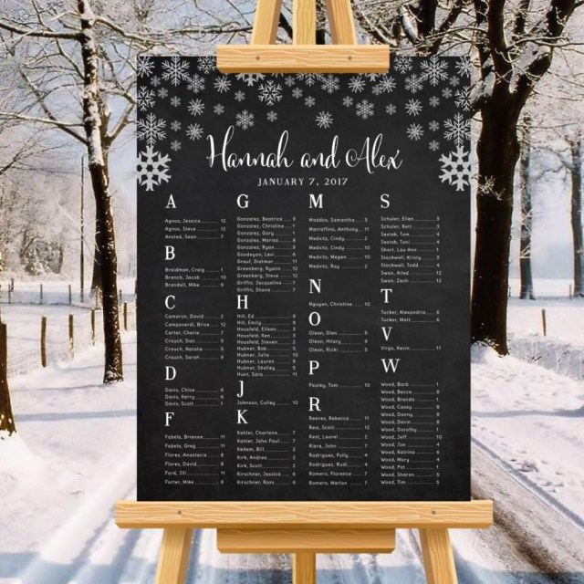 Winter Wedding Diy Winter Wedding Seating Chart Snowflakes Minimalist Wedding Poster