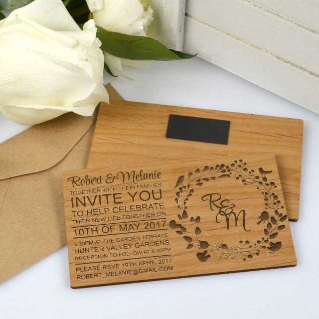 Wood Wedding Invitations 11b Engraved Horizontal Wooden Wedding Invitations