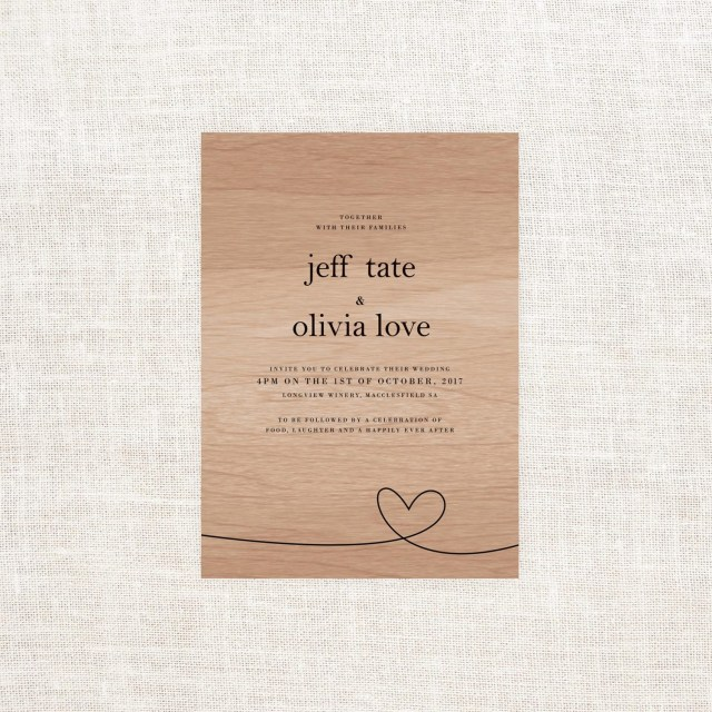 Wood Wedding Invitations Heart Wooden Wedding Invitations Sail And Swan Studio