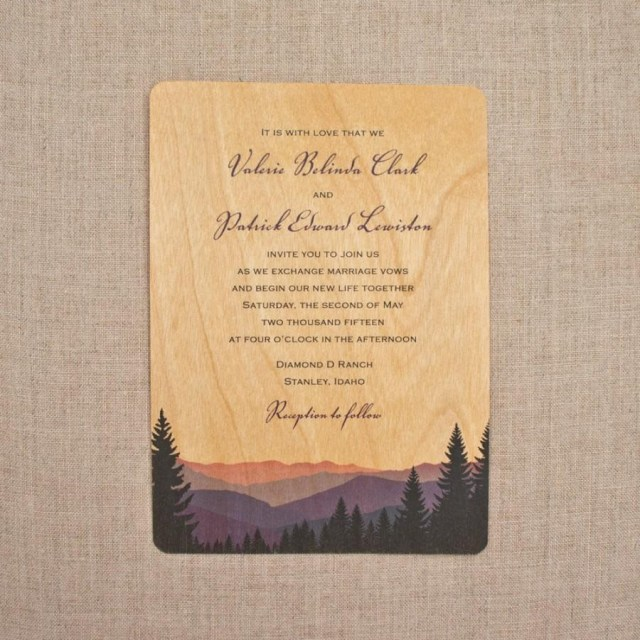 Wood Wedding Invitations Real Wood Wedding Invitations Smoky Mountains 2594883 Weddbook