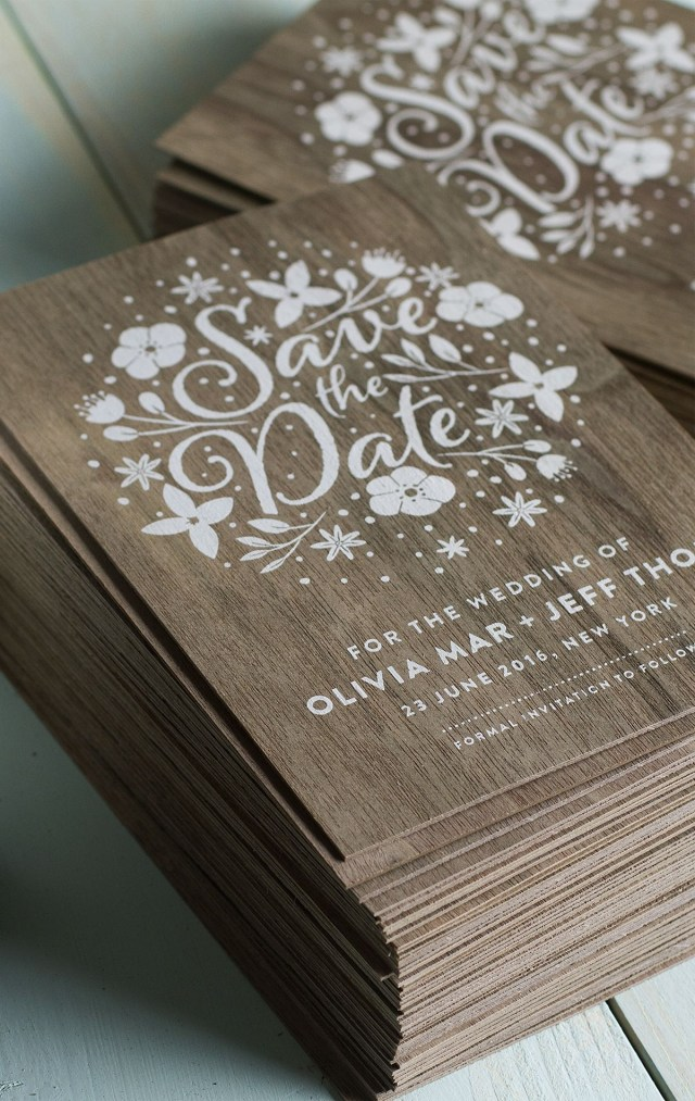 Wood Wedding Invitations Stunning Wedding Invites Produced On Real Wood With White Printing