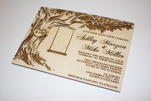 Wood Wedding Invitations Tree With Swing Wedding Invitations Wood Wedding Invitation Oak