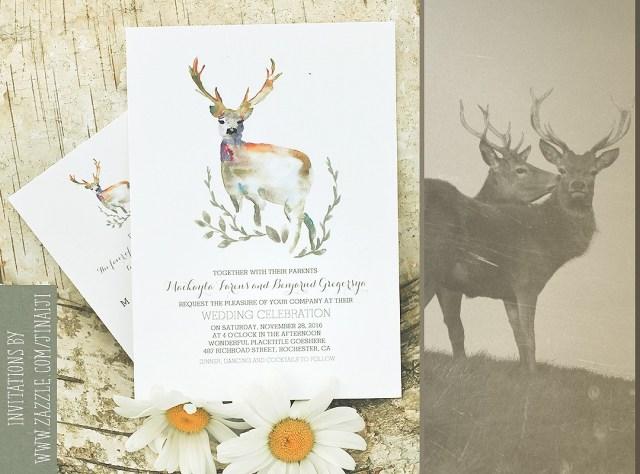Woodland Wedding Invitations Deer Wedding Invitation Romantic Watercolors Need Wedding Idea