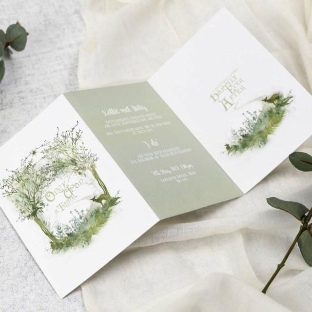 Woodland Wedding Invitations Fairy Tale Wedding Invitations Rustic Wedding Stationery