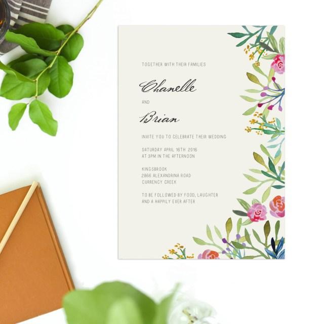 Woodland Wedding Invitations Forest Foliage Watercolour Floral Wedding Invitations Green Forest