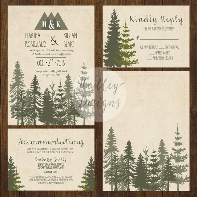 Woodland Wedding Invitations Hadley Designs Rustic
