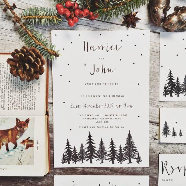 Woodland Wedding Invitations Nordic Winter Wedding Stationery Summer Lane Studio