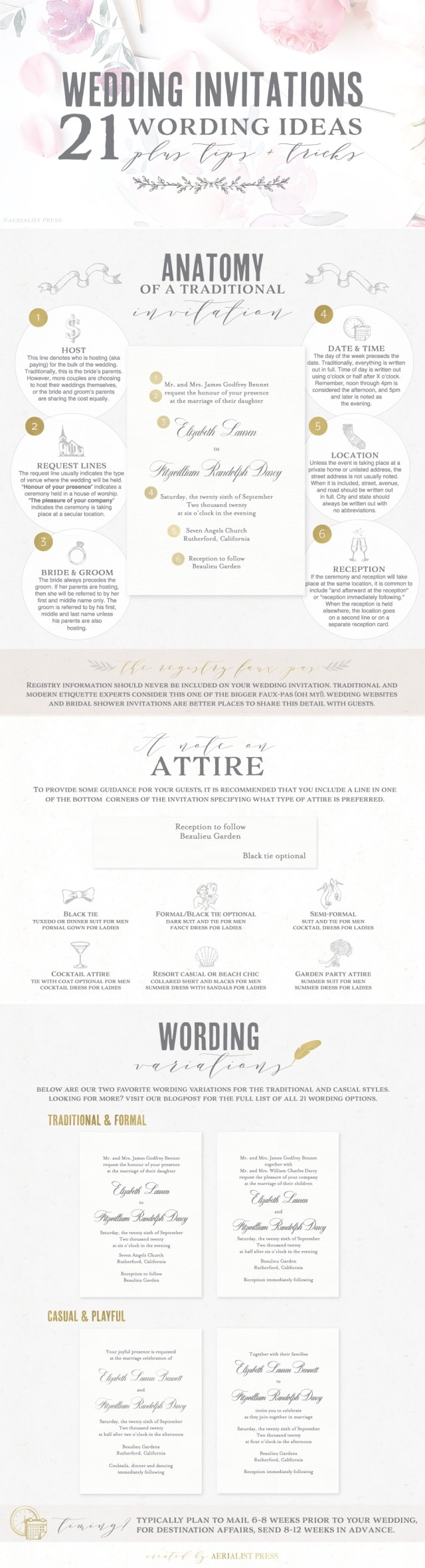 Words To Put On A Wedding Invitation 21 Best Wedding Invitation Wording Ideas Aerialist Press