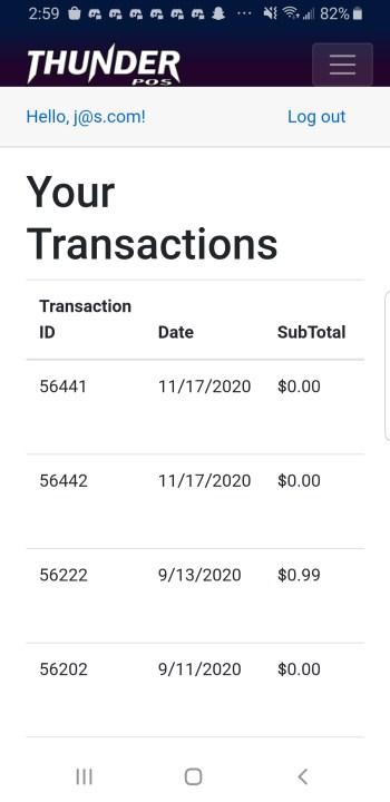 Phone screenshot of transactions
