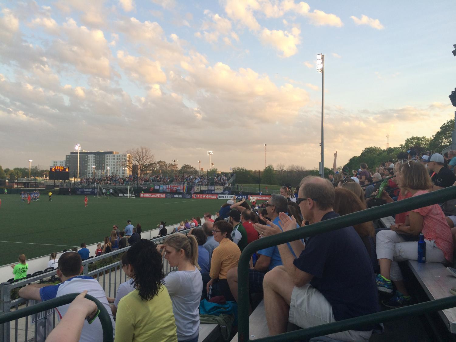 Pictured: A Boston Breakers game at Jordan Field outside the Harvard Stadium.