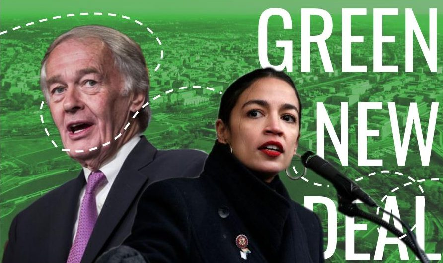 Senators Alexandria Ocasio-Cortez and Ed Markey advocate for the Green New Deal.