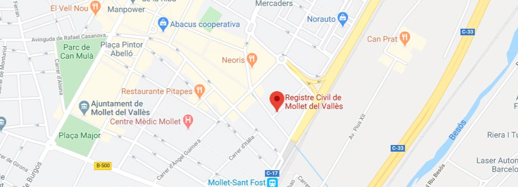 mapa registro civil mollet del valles barcelona
