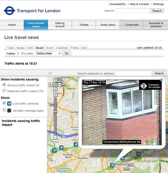 TfL camera in Richmond showing couple in bed
