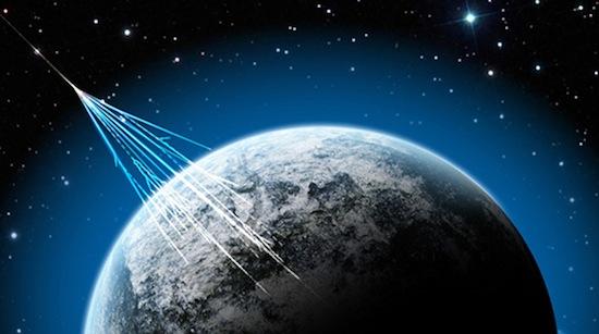Cosmic rays hitting Earth. (NSF/J. Yang)