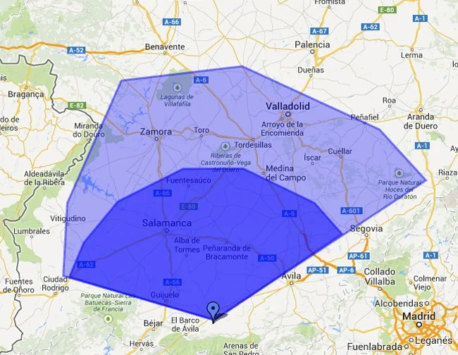 A map of central Spain showing our Vulture 2 landing areas