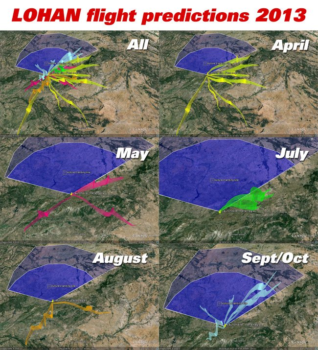The flight predictions shown monthly on a montage of Google Earth grabs