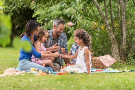 Cloud Computing: Happy household sitting on the grass for the interval of a picnic in a park