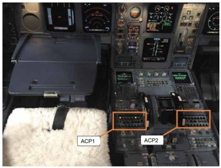 ACP1 is the captain's radio. ACP2 is the first officer. Image: Department of Aircraft Accident Investigation