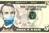 A five dollar note with a mask over Lincoln's face