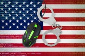 Illustration of the American flag, handcuffs, a computer mouse and code