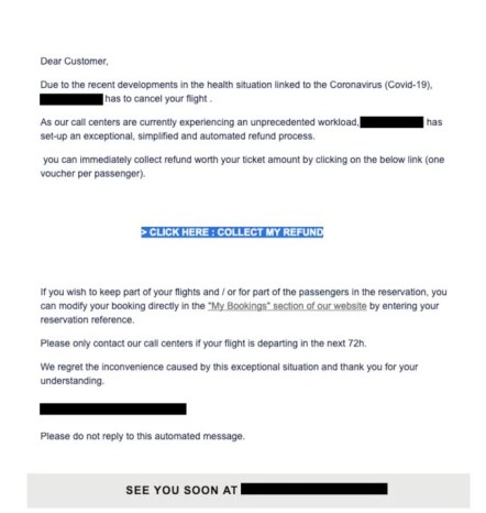 Theft scam email seen by Mimecast