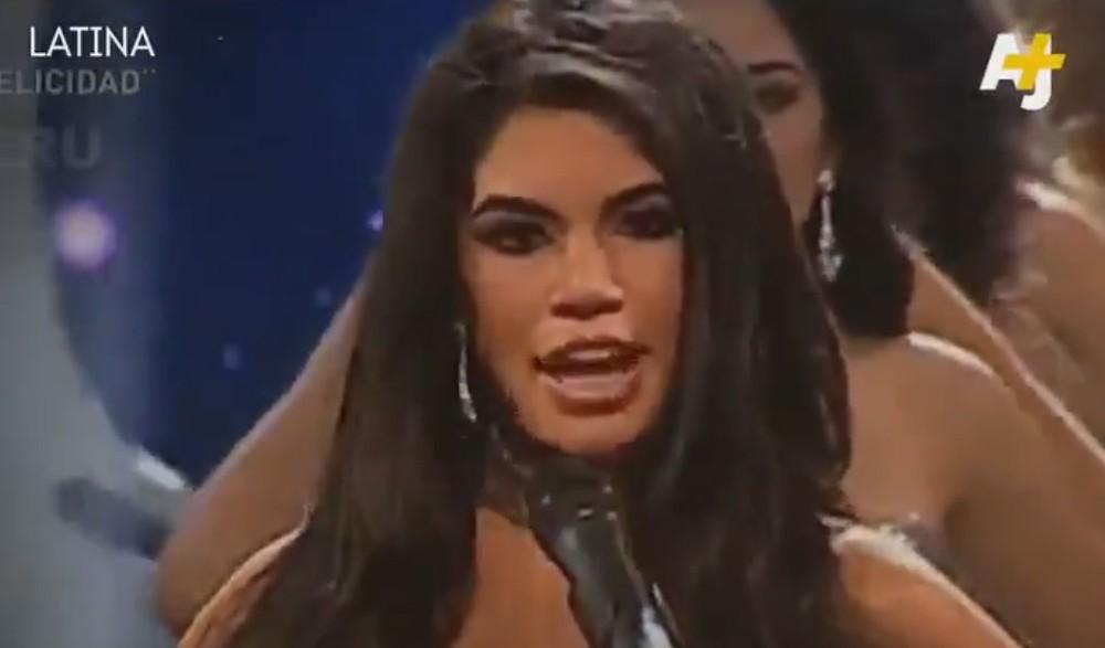 Candidatas a Miss Peru 2018 fazem protesto na passarela