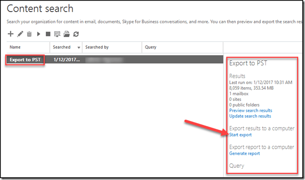 Export to PST from Office 365