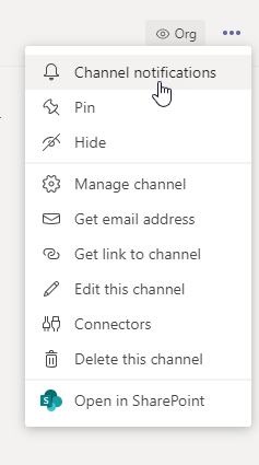 Vertical ellipses menu in a Microsoft Teams channel. Channel notifications menu item is highlighted.