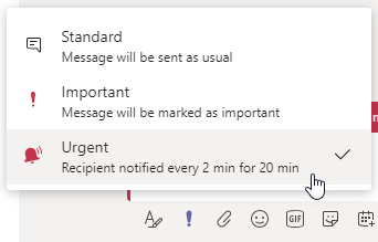 Urgent delivery setting in Microsoft Teams chat