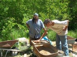 Craig and Richard digging and sifting.