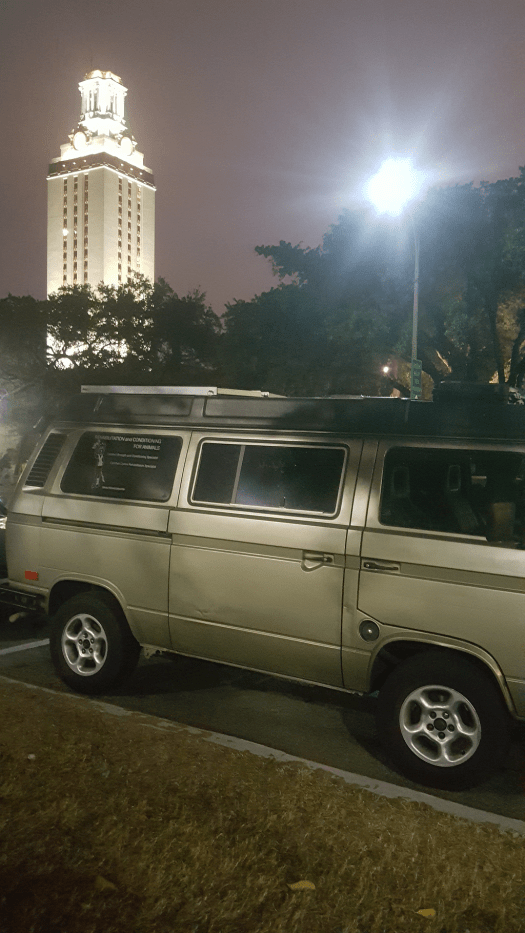 My Volkswagen Vanagon Gracemobile parked by the tower on the University of Texas campus for the University of Texas Pre-Veterinary meeting