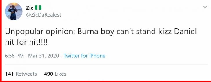 YOUR OPINION!! Burna Boy Can't Stand Kizz Daniel When It Comes To Who Has More Hit Songs
