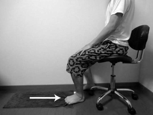 前十字靭帯損傷,リハビリ,方法,タオルギャザー
