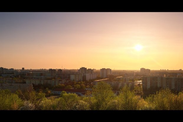 Berlin Marzahn Hellersdorf Sonnenuntergang Skyline