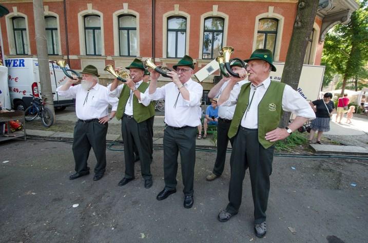 Die Jagdhornbläsergruppe Rochlitz/Geithain eröffnet das Fest