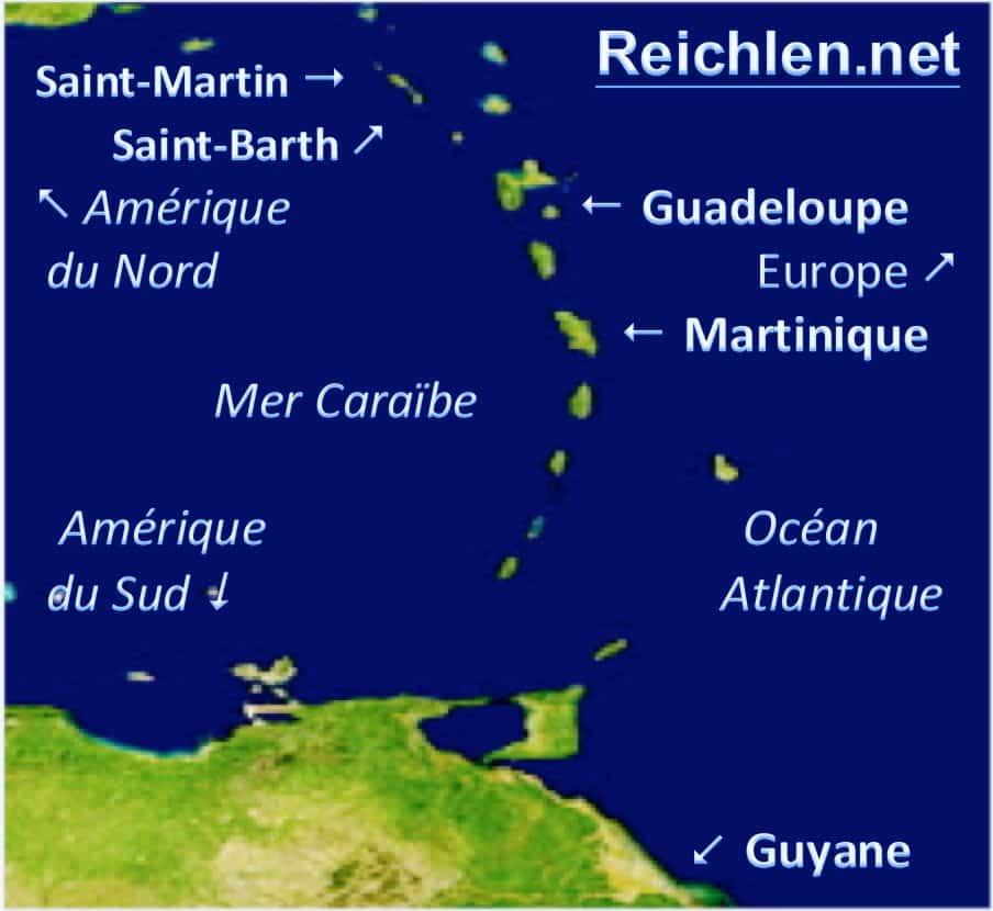 Carte des Antilles-Guyane dans la Caraïbe, Map of French West Indies in the Caribbean, Reichlen.net,