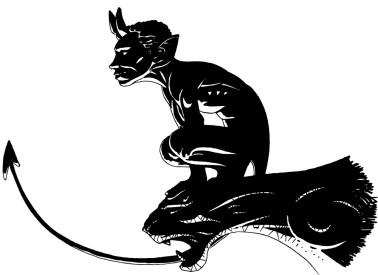 Diable du Pont Valentré - dessin noir et blanc après toilettage vectoriel