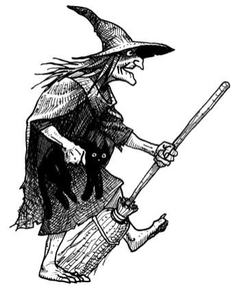 sorcière avec balai et chat noir