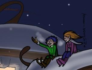 Calendrier de l'Avent : les lutins amoureux sur le toit