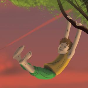 Fête de l'Enfance : enfant en train de se balancer à une branche d'arbre