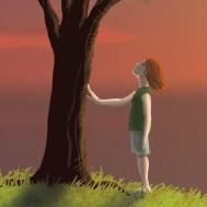 Fête de l'Enfance : enfant en train de toucher l'écorce d'un arbre